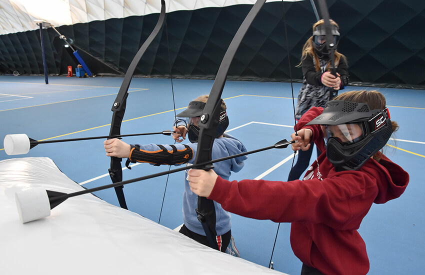 Combat Archery at Clifton College activity centre